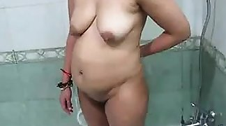 Chubby Indian Mother Washing Her Body